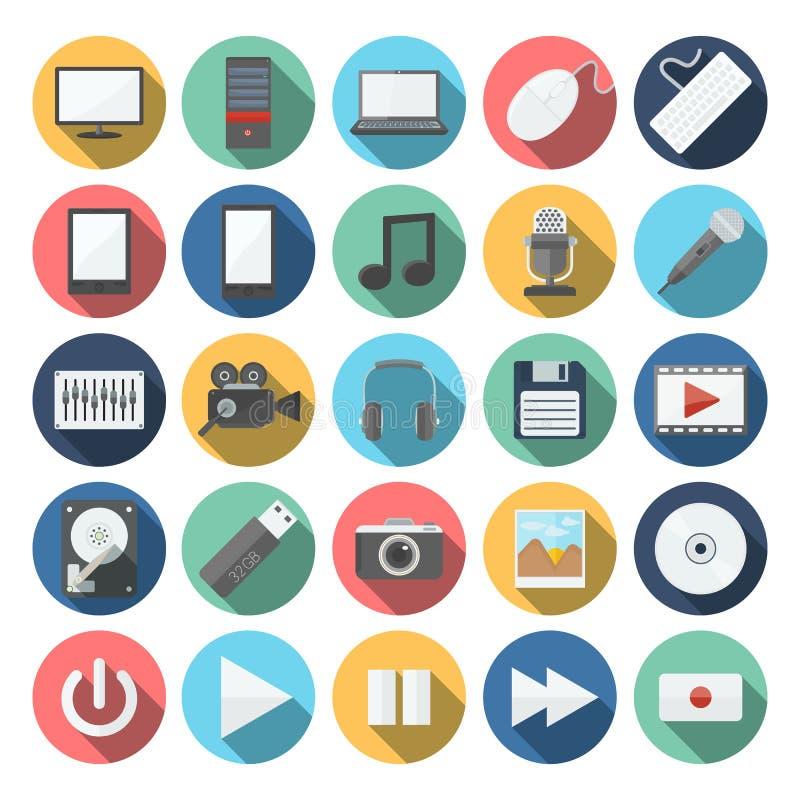 Ordinateur et icônes de multimédia réglées illustration stock