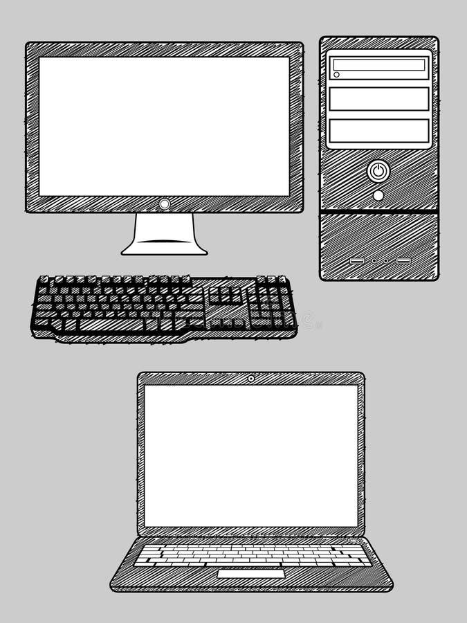 Ordinateur et ordinateur portatif illustration stock