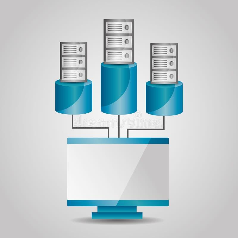 Ordinateur et serveur de base de données partageant la communication illustration de vecteur