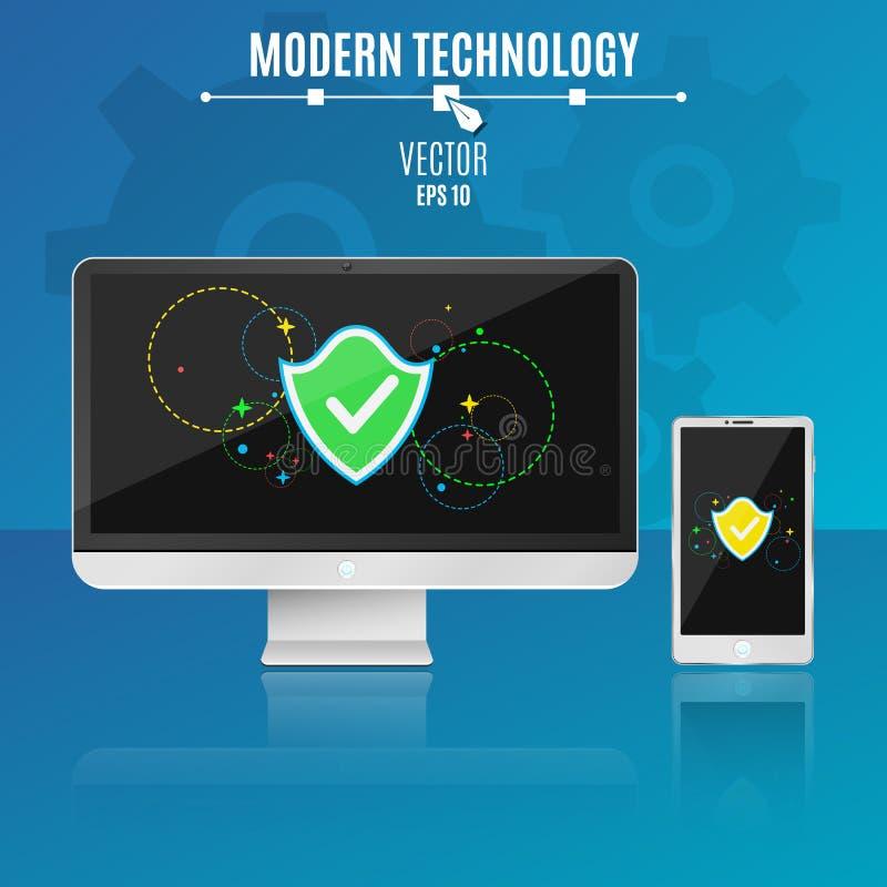 Ordinateur et téléphone modernes sur un fond bleu Sécurité des systèmes Bouclier avec des symboles multicolores sur un écran lége illustration de vecteur