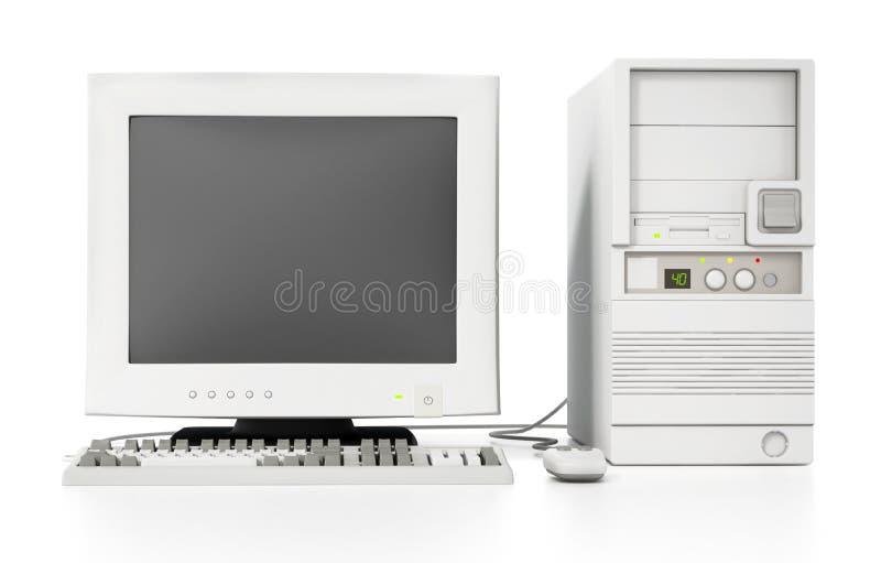 Ordinateur générique de style des années 90 de cru d'isolement sur le blanc illustration 3D illustration de vecteur