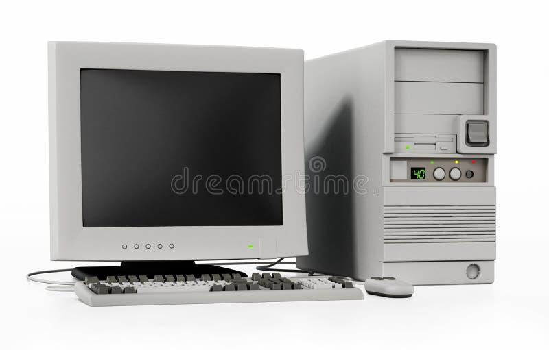 Ordinateur générique de style des années 90 de cru d'isolement sur le blanc illustration 3D illustration libre de droits