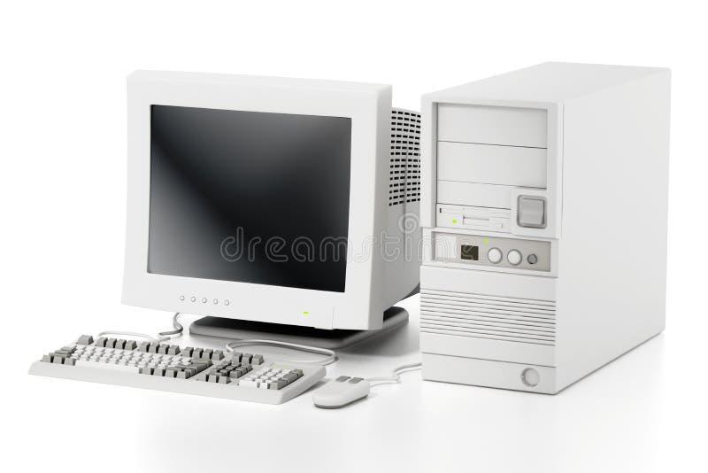 Ordinateur générique de style des années 90 de cru d'isolement sur le blanc illustration 3D illustration stock