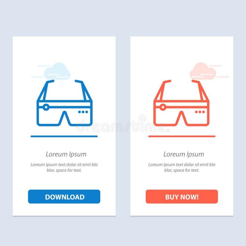 Ordinateur, informatique, numérique, lunettes, Google Blue et rouge Télécharger et acheter maintenant le modèle de carte widget W illustration libre de droits