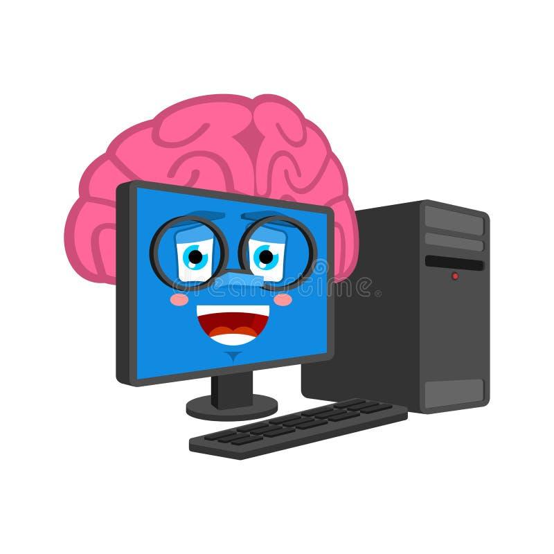Ordinateur intelligent avec des cerveaux d'isolement Cerveau dans le style de bande dessinée de PC vecteur intelligent d'informat illustration stock