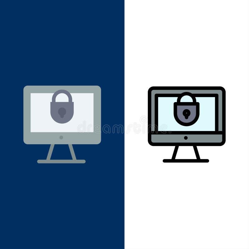 Ordinateur, Internet, serrure, icônes de sécurité L'appartement et la ligne icône remplie ont placé le fond bleu de vecteur illustration stock