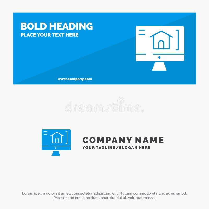 Ordinateur, maison, bannière solide et affaires Logo Template de site Web d'icône de Chambre illustration stock