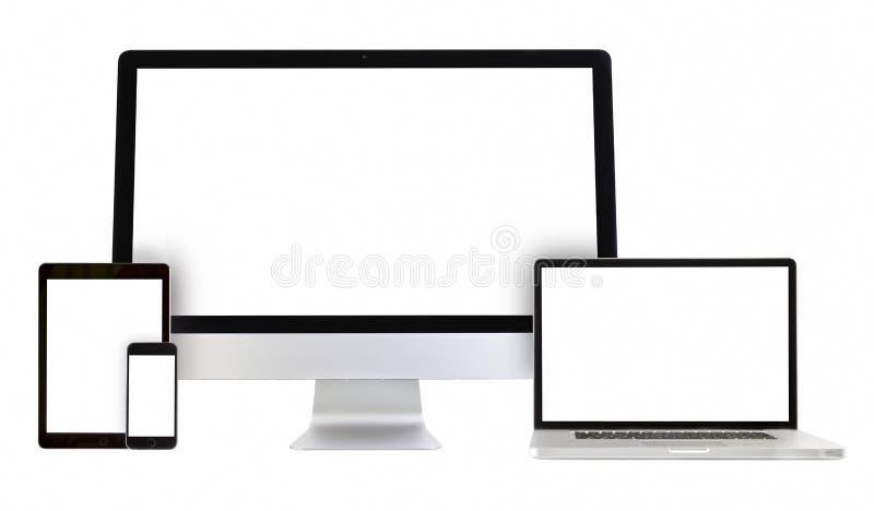 Ordinateur moderne de moniteur, ordinateur portable, smartphone, PC de comprimé photos libres de droits