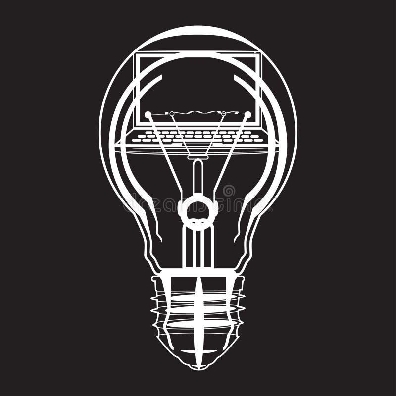 Ordinateur portable à l'intérieur d'illustration plate de vecteur d'ampoule illustration de vecteur