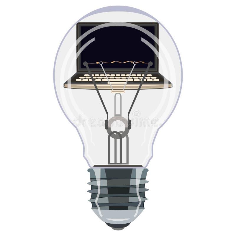 Ordinateur portable à l'intérieur d'illustration plate de vecteur d'ampoule illustration libre de droits