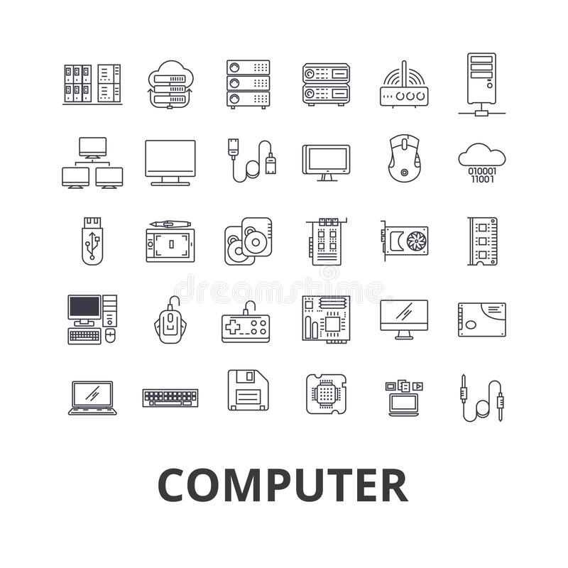 Ordinateur, ordinateur portable, écran d'ordinateur, technologie, Internet, souris, moniteur, ligne icônes de réseau Courses Edit illustration de vecteur