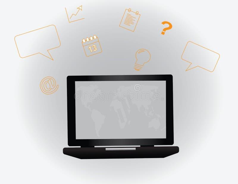 Ordinateur portable avec beaucoup d'icônes de réussite commerciale illustration de vecteur
