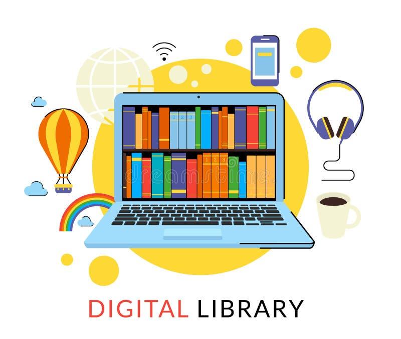 Ordinateur portable avec des eBooks illustration libre de droits