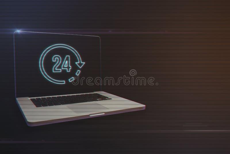 Ordinateur portable avec 24 heures d'icône photographie stock