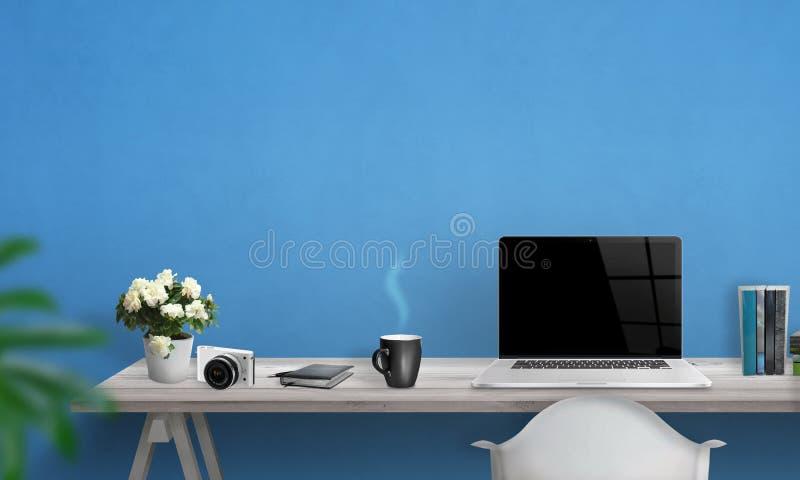 Ordinateur portable avec l'écran vide sur le bureau photographie stock libre de droits