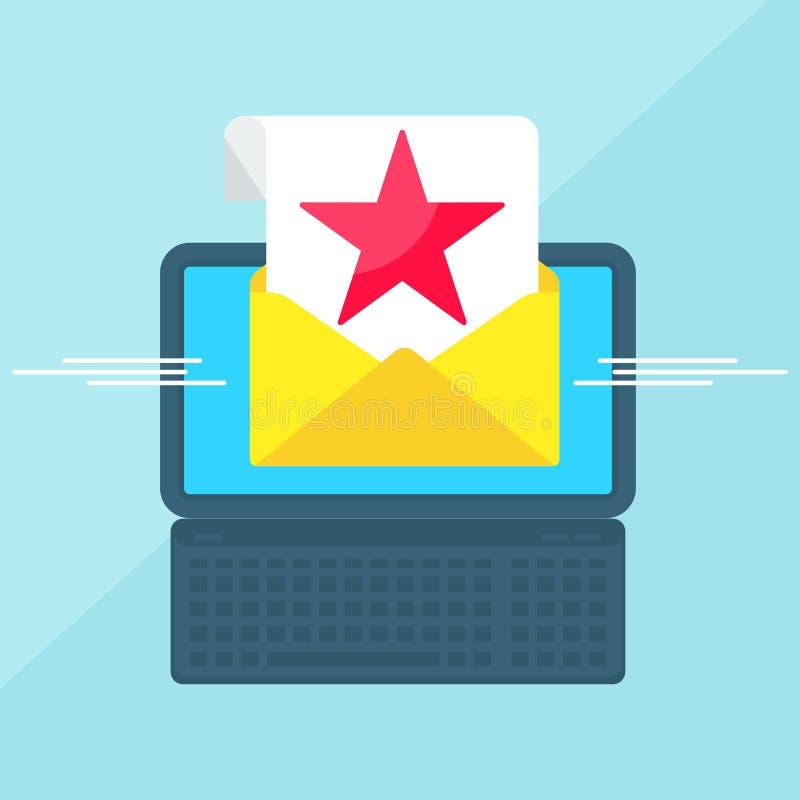 Ordinateur portable avec l'étoile rouge d'enveloppe illustration stock