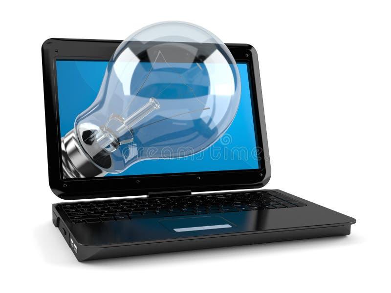 Ordinateur portable avec l'ampoule illustration de vecteur