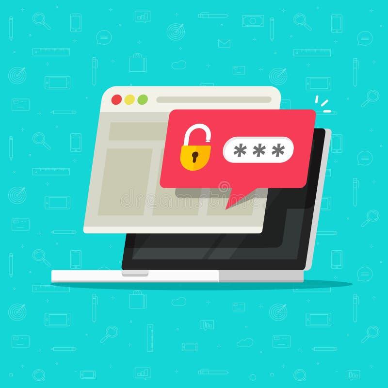 Ordinateur portable avec l'avis débloqué de bulle de mot de passe, bande dessinée plate d'écran de PC avec la serrure ouverte et  illustration libre de droits