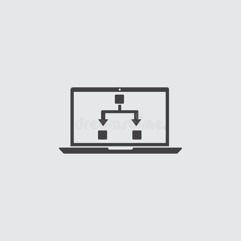Ordinateur portable avec l'icône editable dans une conception plate dans la couleur noire Illustration EPS10 de vecteur illustration de vecteur