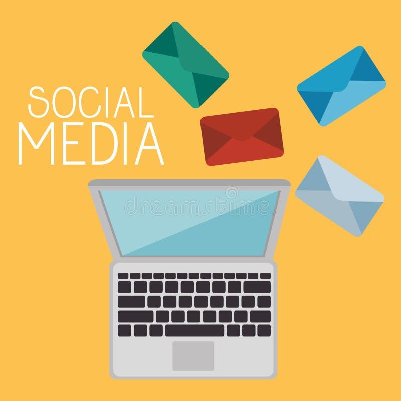 Ordinateur portable avec l'icône sociale de media illustration libre de droits