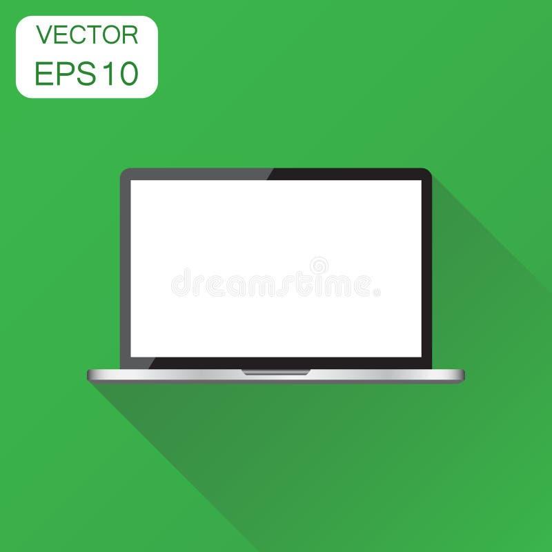 Ordinateur portable avec l'icône blanche d'écran Pictogr de carnet de concept d'affaires illustration stock