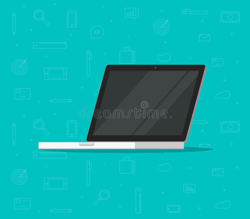 Ordinateur portable avec l'illustration vide de vecteur d'écran, PC plat de bande dessinée avec l'affichage neutre illustration de vecteur