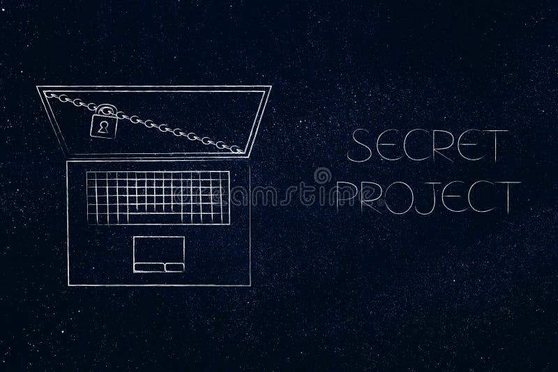 Ordinateur portable avec la serrure et chaîne à côté de légende secrète de projet illustration de vecteur