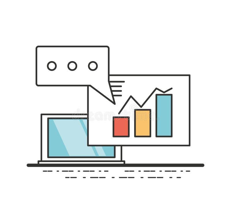 Ordinateur portable avec le document d'entreprise important illustration stock