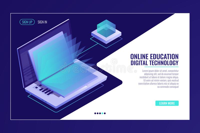 Ordinateur portable avec le livre ouvert, apprenant le concept en ligne d'éducation, bibliothèque d'électron, recherche de l'info illustration libre de droits
