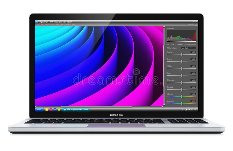 Ordinateur portable avec le logiciel de photographe éditeur illustration stock