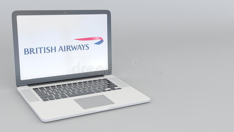 Ordinateur portable avec le logo de British Airways Rendu conceptuel de l'éditorial 3D d'informatique illustration de vecteur