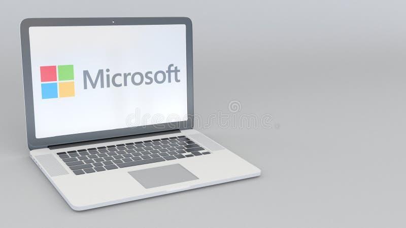 Ordinateur portable avec le logo de Microsoft Rendu conceptuel de l'éditorial 3D d'informatique illustration libre de droits