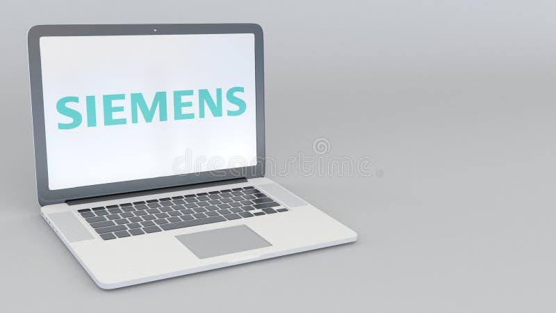 Ordinateur portable avec le logo de Siemens Rendu conceptuel de l'éditorial 3D d'informatique illustration de vecteur
