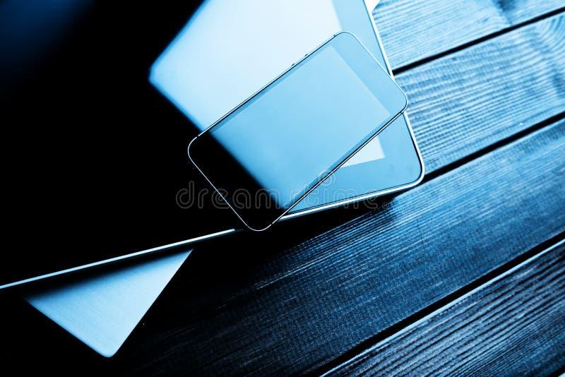 Ordinateur portable avec le PC de téléphone et de comprimé photo libre de droits