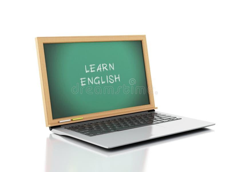 Ordinateur portable avec le tableau Apprenez le concept anglais illustration 3D illustration de vecteur