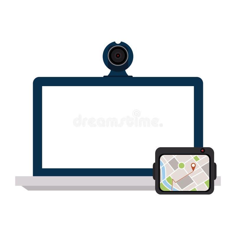 Ordinateur portable avec le webcam et les généralistes illustration stock
