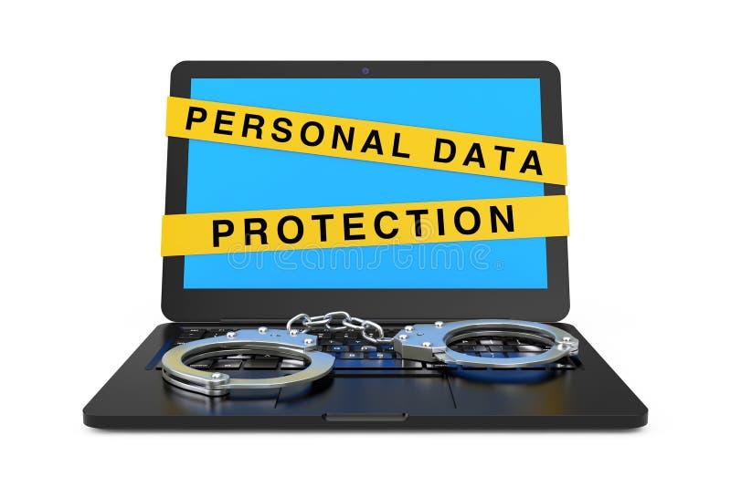 Ordinateur portable avec les menottes et le signe personnel de bande de protection des données rendu 3d illustration de vecteur