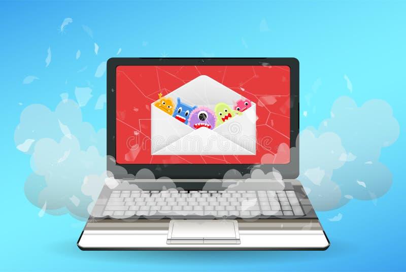 Ordinateur portable cassé par le virus de l'email illustration libre de droits