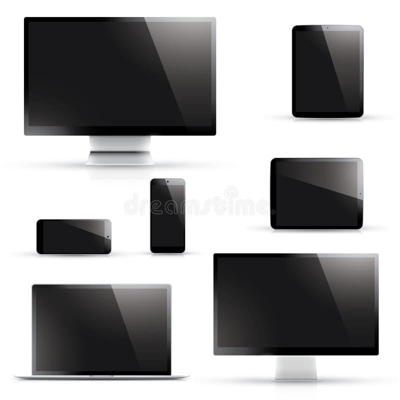 Ordinateur portable, comprimé, smartphone, vecteurs d'ordinateur illustration libre de droits