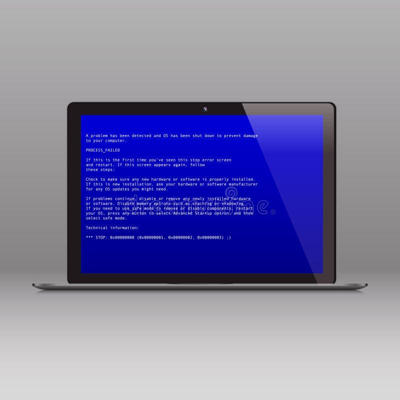 Ordinateur portable d'affaires avec le message d'erreur critique d'OS illustration libre de droits