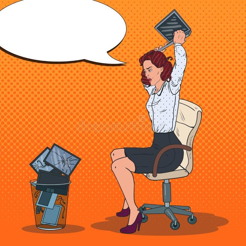 Ordinateur portable d'Art Angry Business Woman Throwing de bruit dans la poubelle Tension au travail illustration de vecteur