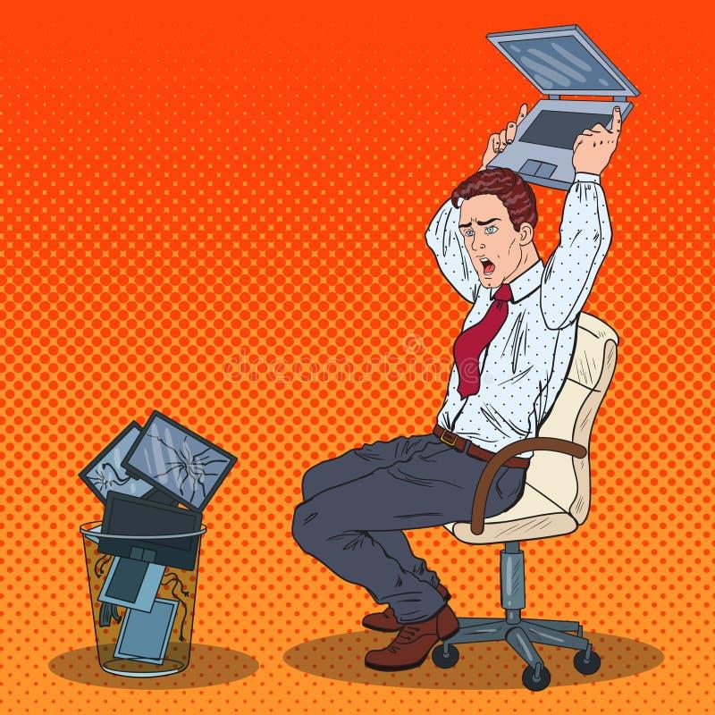 Ordinateur portable d'Art Angry Businessman Throws Out de bruit Effort au travail de bureau illustration de vecteur