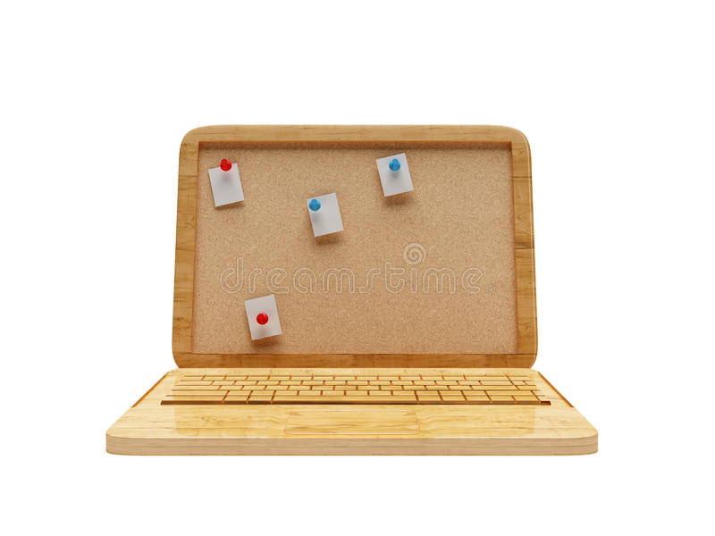 ordinateur portable 3D en bois photo libre de droits
