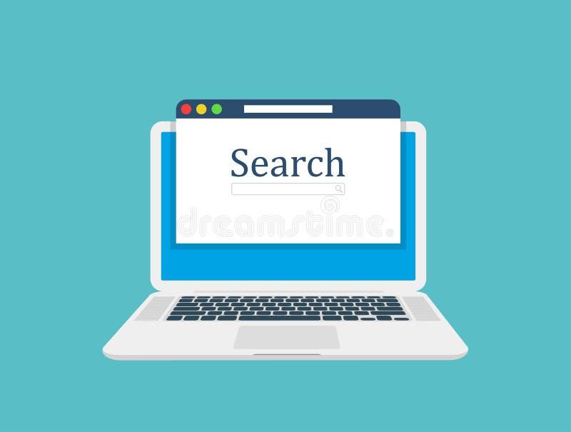 Ordinateur portable d'ordinateur, fenêtre du navigateur et sites de rang dans des résultats de recherche de moteur de recherche d illustration de vecteur