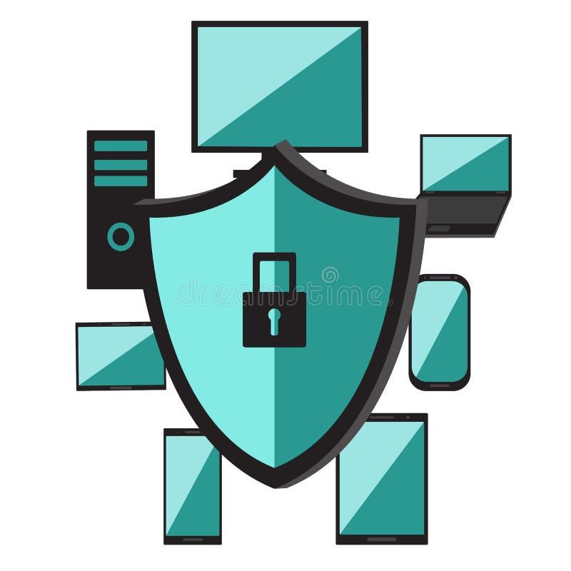 Ordinateur portable d'ordinateur de logiciel de système d'exploitation, téléphone portable Réseau de sécurité Protection des donn illustration stock