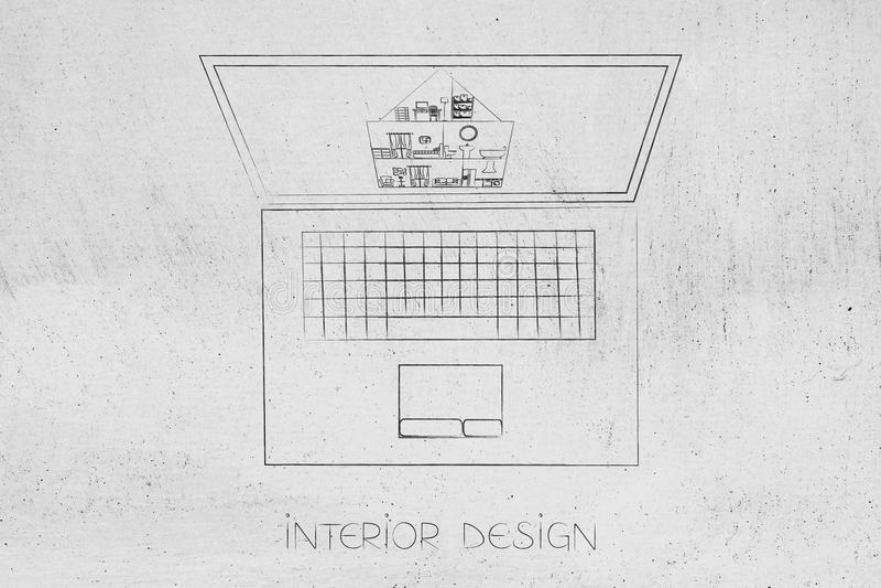 Ordinateur portable de conception intérieure avec le projet de maison sur l'écran illustration de vecteur