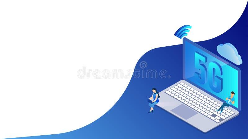Ordinateur portable de connexion réseau de la vitesse rapide 5G et haut signal de wifi relié de nuage de données de stockage par  illustration libre de droits