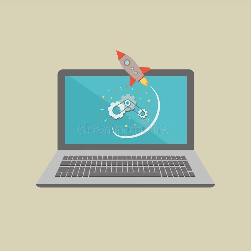 Ordinateur portable de démarrage d'entreprise avec la fusée photographie stock libre de droits