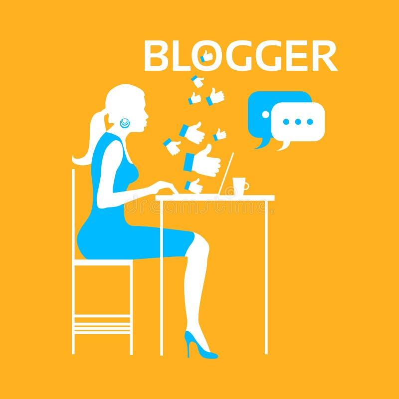 Ordinateur portable de dactylographie de Blogger de fille de silhouette illustration de vecteur