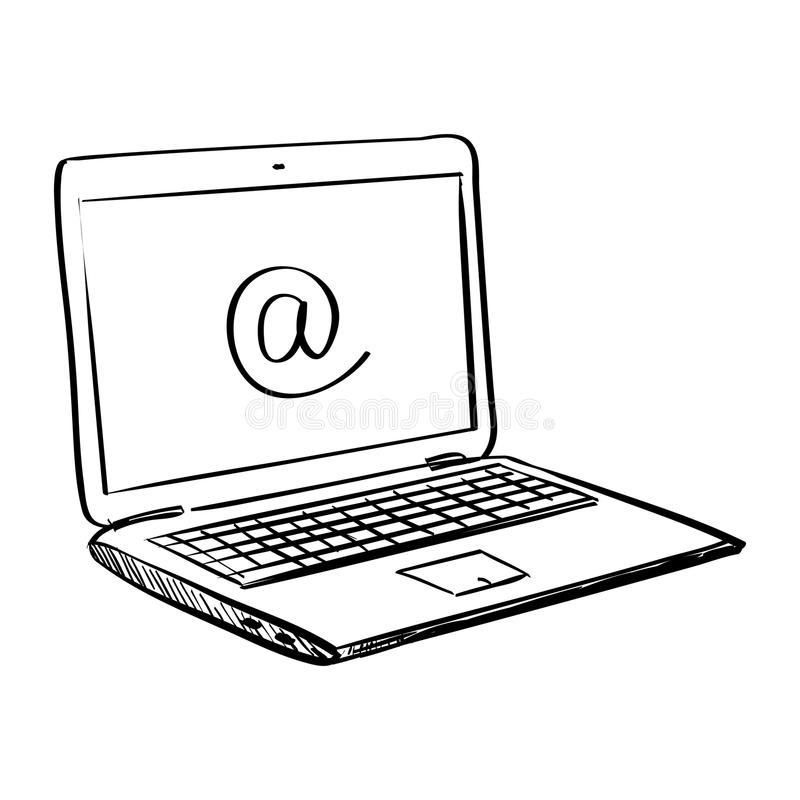 Ordinateur portable de griffonnage d'aspiration de main illustration stock
